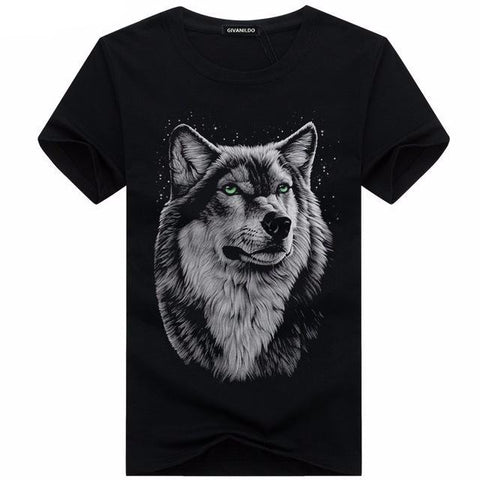 High Quality Wolf Printed Tees