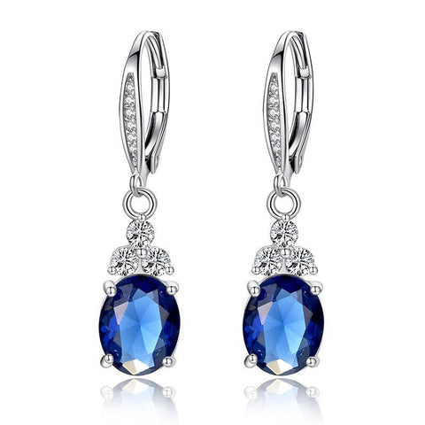 Authentic White & Blue Crystal Anti-allergic Drop Earring