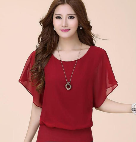 Summer Chiffon Ruffle Short Sleeve Blouse-women-wanahavit-wine red-S-wanahavit