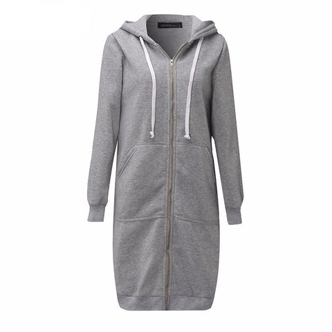 Long Autumn Zip Up Hooded Jacket