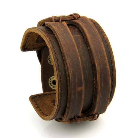 Leather Cuff Double Strap Wide Bracelet