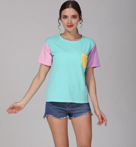 Cute Summer Style Color Contrast Tees-women-wanahavit-Blue-M-wanahavit