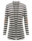High Quality Autumn Striped Printed Elbow Patch Knitted Cardigan-women-wanahavit-Gray-S-wanahavit
