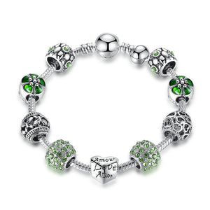 Antique Silver Charm with Love and Flower Crystal Ball Bracelet-women-wanahavit-Green-20cm-wanahavit