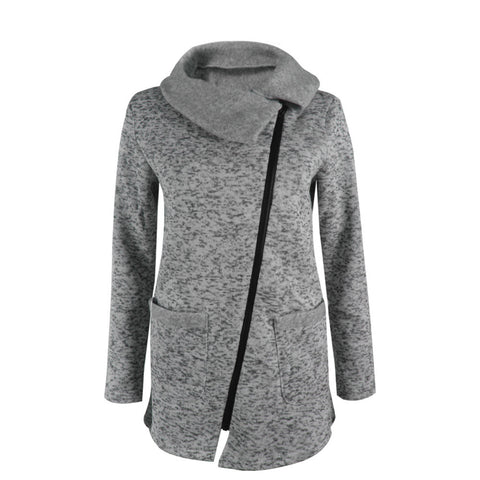 Winter Warm Fleece Slant Zippered Jacket