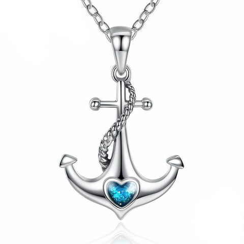 925 Sterling Silver Blue Heart Crystal Anchor Pendant Necklace