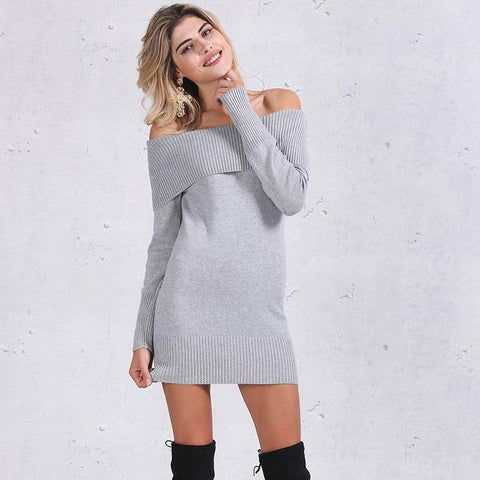 Winter Off Shoulder Knitted Bodycon Dress-women-wanahavit-Gray-One Size-wanahavit