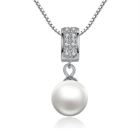 925 Sterling Silver Simulated Pearl Pendant Necklace