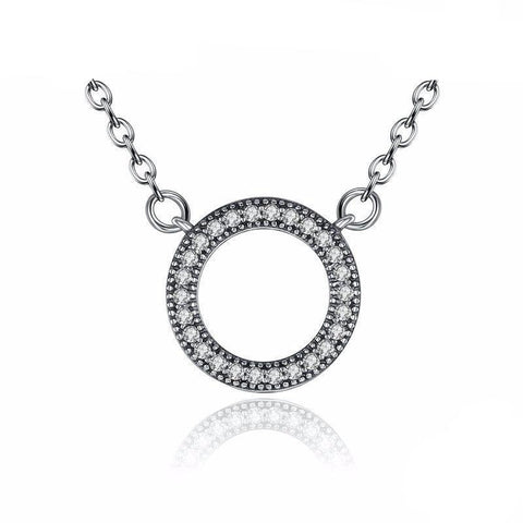 925 Sterling Clear Round Shape Pendant Necklaces