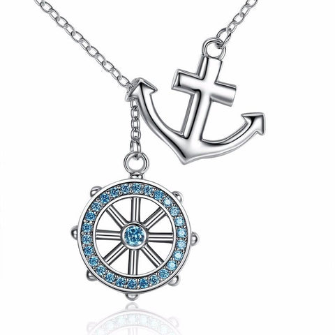 925 Sterling Silver Blue Anchor & Rudder Pendant Neklace-women-wanahavit-wanahavit