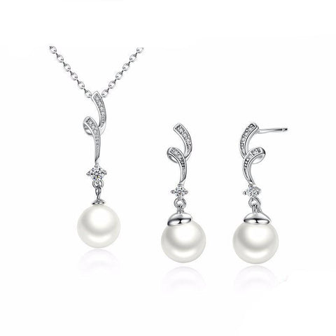925 Sterling Silver White Pearl Jewelry Set