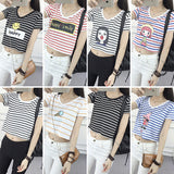 Striped Crop Top Printed Loose Short Sleeve Tees-women-wanahavit-Ice Cream-One Size-wanahavit