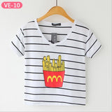 Striped Crop Top Printed Loose Short Sleeve Tees-women-wanahavit-Fries-One Size-wanahavit