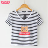 Striped Crop Top Printed Loose Short Sleeve Tees-women-wanahavit-Bear-One Size-wanahavit