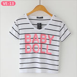Striped Crop Top Printed Loose Short Sleeve Tees-women-wanahavit-Baby Doll-One Size-wanahavit