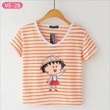 Striped Crop Top Printed Loose Short Sleeve Tees-women-wanahavit-Girl 2-One Size-wanahavit