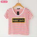 Striped Crop Top Printed Loose Short Sleeve Tees-women-wanahavit-Happy Smile-One Size-wanahavit