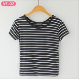 Striped Crop Top Printed Loose Short Sleeve Tees-women-wanahavit-Plain Thick Black Stripe-One Size-wanahavit