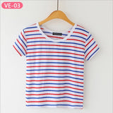 Striped Crop Top Printed Loose Short Sleeve Tees-women-wanahavit-Plain Multi Color Stripe-One Size-wanahavit