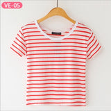 Striped Crop Top Printed Loose Short Sleeve Tees-women-wanahavit-Plain Red Stripe-One Size-wanahavit