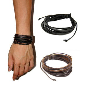 Leather Braided Rope Bracelets-unisex-wanahavit-one black one brown-wanahavit