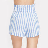 Casual Stripe Belted High Waist Summer Shorts