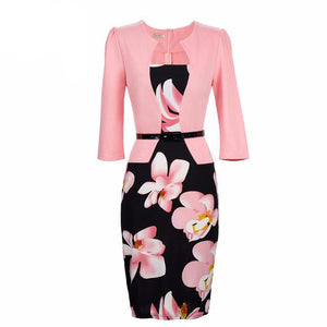 One Piece Floral Printed Elegant Business Formal Work Dress-women-wanahavit-light pink-S-wanahavit