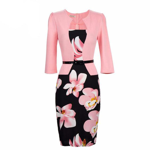 One Piece Floral Printed Elegant Business Formal Work Dress-women-light pink-S-wanahavit