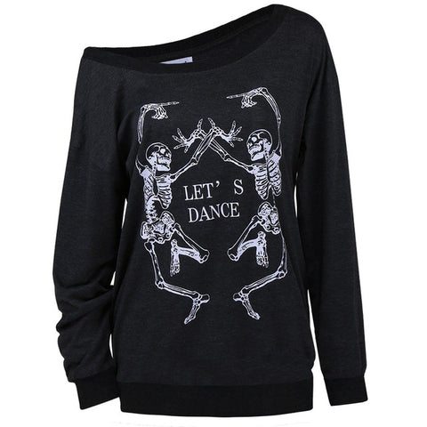 Black Punk Off Shoulder Long Sleeve Shirt