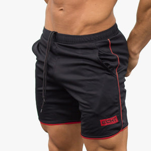 Casual Bodybuilder Calf Length Workout Shorts-men fitness-wanahavit-Black with Red-M-wanahavit
