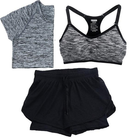 Quick Dry Yoga Set Tees + Sports Bra + Shorts