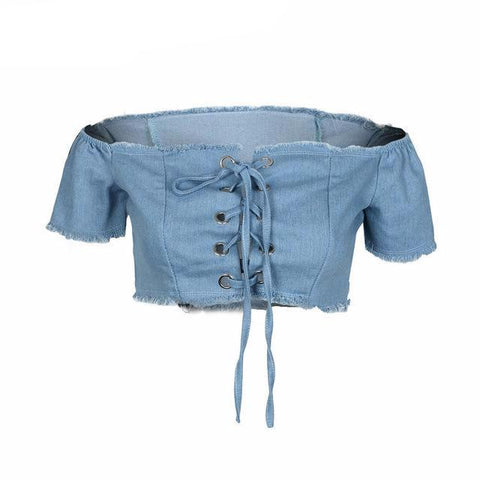 Sexy Lace Up Off Shoulder Crop Top Shirt-women-wanahavit-Light Blue-S-wanahavit