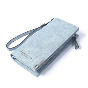 High Capacity Retro Fashion Long Purse-women-wanahavit-Blue-wanahavit