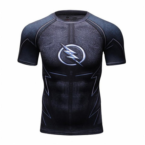 Marvel & DC Superheroes Compression Shirt-men fashion & fitness-wanahavit-Black Flash-M-wanahavit