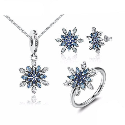 925 Sterling Silver Crystal Snowflake Blue Crystal Jewelry Set