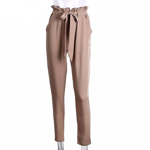 Stringy Summer High Waist Harem Pants-women-wanahavit-Light Tan-S-wanahavit