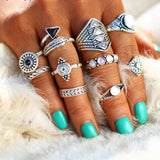 Fashion Vintage Leaf Stone Midi Ring Set