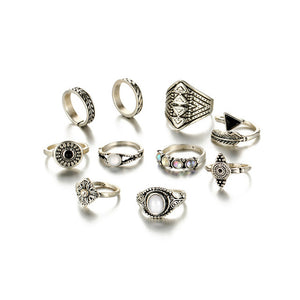 Fashion Vintage Leaf Stone Midi Ring Set-women-wanahavit-Silver Color-wanahavit
