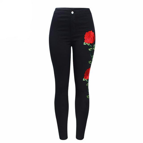 Embroidered Floral High Waist Slim Fit Jeans-women-black-XS-wanahavit