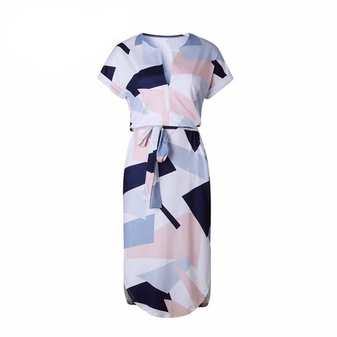 Elegant Slim Printed Dress with Sash