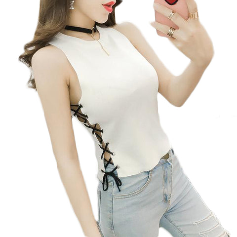 Summer Slim Knitted Camisole Crop Tops Sleeveless Shirt