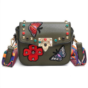 Small Leather Designer Hand Bag Embroidered with Butterflies-women-wanahavit-Army Green-wanahavit