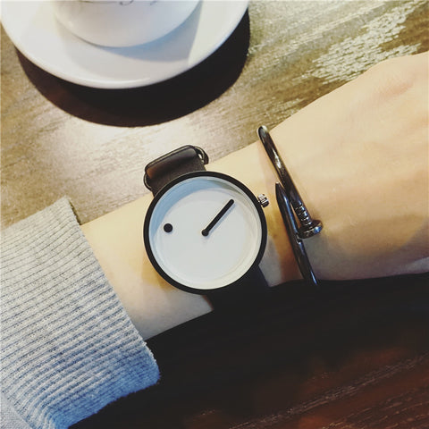 Minimalist Dot and Line Stylish Quartz Watch-unisex-wanahavit-black white-wanahavit