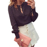 Summer Chiffon Polka Dot Casual Long Sleeve Shirt-women-wanahavit-S-wanahavit