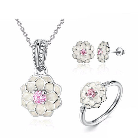925 Sterling Silver White Flower with Pink Crystal Jewelry Set