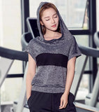 Hooded Meshed Short Sleeve Workout Shirt