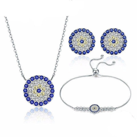 925 Sterling Silver Trendy Round Blue Eyes Jewelry Sets
