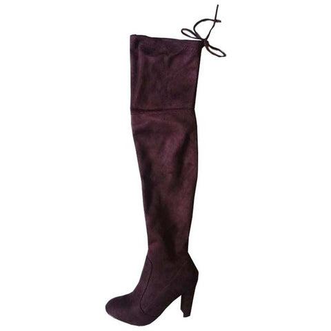 Faux Suede Sexy Slim Thigh High Boots-women-wanahavit-wine red-4-wanahavit