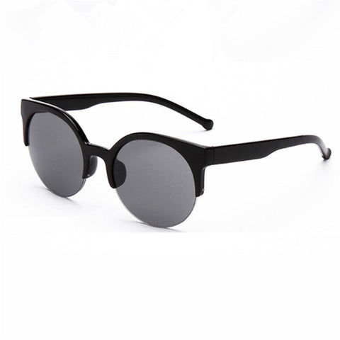 Retro Round Cat Eye Circular  Semi-Rimless Sunglass