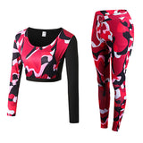 Camouflage Fitness Yoga Workout Set Crop Top Long Sleeve Shirt + Legging-women fitness-wanahavit-Red Camou-S-wanahavit